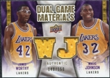 2009/10 Upper Deck Game Materials Dual Gold #DGWJ James Worthy Magic Johnson /150