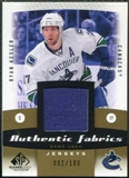 2010/11 Upper Deck SP Game Used Authentic Fabrics Gold #AFRK Ryan Kesler /100