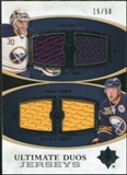 2010/11 Upper Deck Ultimate Collection Ultimate Jerseys Duos #UDJMV Ryan Miller Thomas Vanek /50