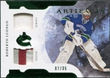 2011/12 Upper Deck Artifacts Horizontal Jerseys Patches Emerald #1 Roberto Luongo /35