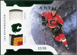 2011/12 Upper Deck Artifacts Horizontal Jerseys Patches Emerald #44 Jay Bouwmeester /35