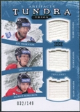 2011/12 Upper Deck Artifacts Tundra Trios Jerseys Blue #TT3CAN Joe Thornton Eric Staal Patrice Bergeron /149