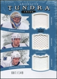 2011/12 Upper Deck Artifacts Tundra Trios Jerseys Blue #TT3NUCKS Roberto Luongo Ryan Kesler Alex Edler /149