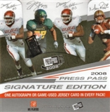2008 Press Pass Signature Edition Football Hobby Box
