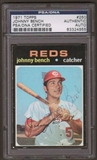 1971 Topps Johnny Bench #250 Autographed Card PSA Slabbed (4955)