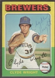 1975 Topps Baseball #408 Clyde Wright Signed in Person Auto