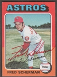 1975 Topps Baseball #525 Fred Scherman Signed in Person Auto (Red)