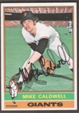 1976 Topps Baseball #157 Mike Caldwell Signed in Person Auto
