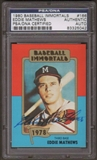 1980 Baseball Immortals Eddie Mathews #166 Autographed Card PSA Slabbed (5042)