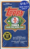 2003 Topps Series 1 Baseball Blaster 20 Pack Box