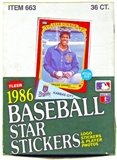 1986 Fleer Baseball Star Stickers Wax Box
