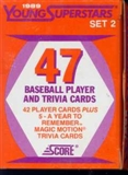 1989 Score Young Superstars Series 2 Baseball Factory Set