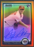 2010 Bowman Chrome Baseball Stephen Strasburg Orange Refractor Rookie Auto #08/25