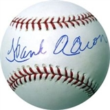Hank Aaron Autographed Official Major League Baseball (Mounted Memories)