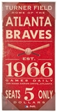 Artissimo Atlanta Braves Vintage Ticket 10x20 Canvas