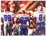 "Emmitt Smith / Troy Aikman / Michael Irvin Autographed Dallas Cowboys ""Triplets"" Photo ("