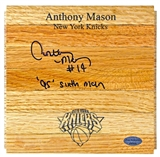 "Anthony Mason Autographed New York Knicks Wood Floor Piece w/""95' 6th Man"" Inscr. (Leaf)"