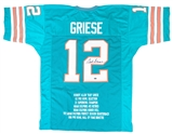 Bob Griese Autographed Miami Dolphins Teal Stat Jersey (Leaf Authentics)
