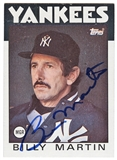 Billy Martin Autographed New York Yankees 1986 Topps Baseball # 651 (JSA letter)