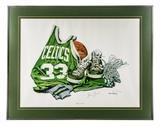 Larry Bird Autographed Allen Hackney 1986 Limited Edition Framed Lithograph #76/1000