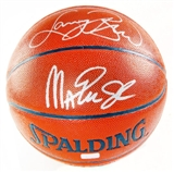 Magic Johnson & Larry Bird Dual Autographed Spalding Basketball (Mounted Memories)