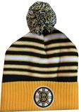 Boston Bruins Reebok Team Striped Knit with Pom Hat (Boys 4-7)