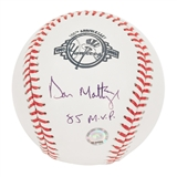 "Don Mattingly Autographed New York Yankees Official MLB Baseball w/""85 MVP"" (MLB Holo)"