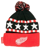 Detroit Red Wings Reebok Team Stars and Stripes Cuffed Knit with Pom Hat (Boys 4-7)