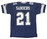 Deion Sanders Autographed Dallas Cowboys Blue Football Jersey (PSA)