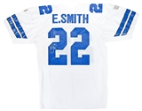 Emmitt Smith Autographed Dallas Cowboys Wilson Football Jersey (JSA)