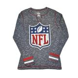 NFL Logo Majestic Grey Gametime Gal V-Neck Long Sleeve Shirt (Womens S)