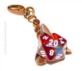 Chessex d20 Keychain with Copper Finish