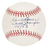 "Hank Bauer Autographed New York Yankees MLB Baseball w/""World Champs"" (Kuykendall's)"