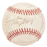 Roger Maris & Joe Dimaggio Autographed Baseball with 15 Other Signatures (JSA Letter)