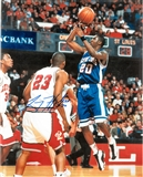 Larry Hughes Autographed Saint Louis University Billikens 8x10 Photo (Press Pass)