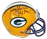 "Javon Walker Autographed Green Bay Packers Mini Helmet w""Go Pac!"" Inscr (Mounted Mem)"