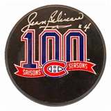 Jean Beliveau Autographed Montreal Canadians 100th Anniversary Hockey Puck (Beliveau Holo)