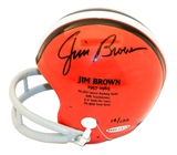 Jim Brown Autographed Cleveland Browns Throwback Stats Mini Helmet #14/132 (Upper Deck)