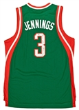 "Brandon Jennings Autographed Milwaukee Bucks Jersey w/"" #1 Young Money"" Inscript. (PSA)"