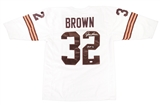 "Jim Brown Autographed Cleveland Browns White Throwback Jersey w'HOF 71"" Inscription (JSA)"