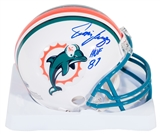 Jim Langer Autographed Miami Dolphins Mini Football Helmet with HOF inscription (Leaf)