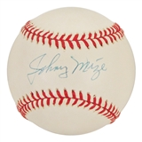 Johnny Mize Autographed Official MLB Baseball (PSA)