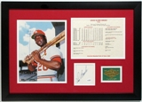 Lou Brock Singed & Framed Cut Auto with 8x10 and Stat Card