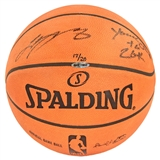 """LeBron James Autographed Cleveland Cavs Spalding Basketball w/""""Youngest to 20k"""" Inscr. (UDA)"""