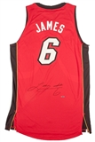 LeBron James Autographed Miami Heat Authentic Red Jersey (Upper Deck)