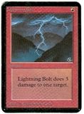 Magic the Gathering Alpha Single Lightning Bolt - MODERATE PLAY (MP)