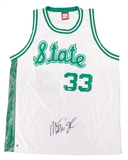 Magic Johnson Autographed Michigan State Spartans White Wilson Jersey (Steiner)