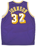 Magic Johnson Autographed Los Angeles Lakers Basketball Jersey (PSA)