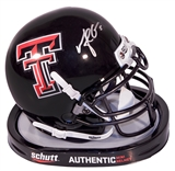 Michael Crabtree Autographed Texas Tech Red Raiders Schutt Mini Helmet (Press Pass)