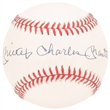Mickey Charles Mantle Autographed New York Yankees Official MLB Baseball (PSA Graded 8)